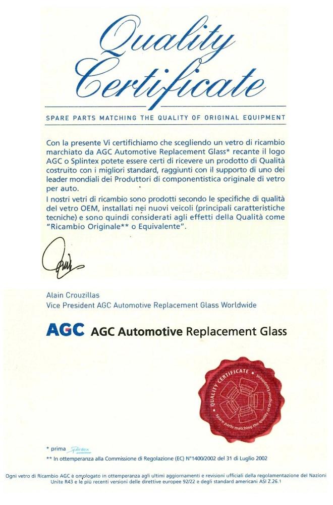 certificazione cristalli per auto