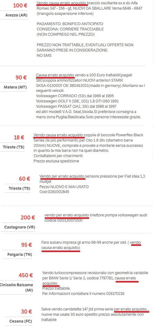 utenti che vendono ricambi auto acquistati per errore