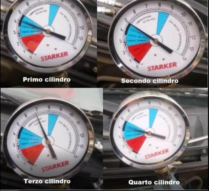 misurazione della compressione dei cilindri prima del trattamento