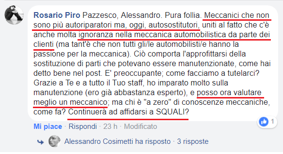 commento automobilista facebook