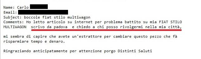 richiesta assistenza meccanica via email